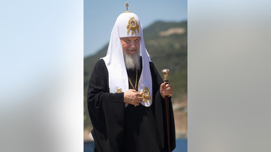 Patriarch Kirill of Moscow arrives to the port of Dafni, at Mount Athos, Greece, Friday, May 27, 2016, a day ahead of Russia's president Putin visit. Russia's president is due in financially struggling Greece Friday for a state visit that will include a trip to a 1,000-year-old, all-male Orthodox Christian sanctuary in the north of the country. (AP Photo/Darko Bandic)