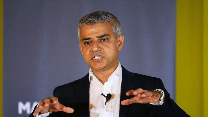 Mayor of London, Sadiq Khan, speaks during an event in east London, Thursday May 26, 2016. Official figures show Britain gained 330,000 people through immigration in 2015, a near-historic high, though level from the year before. Sadiq Khan argues that the capital's strength lies in being open to the world.  (Jonathan Brady/PA via AP) UNITED KINGDOM OUT