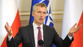 NATO Secretary General, Jens Stoltenberg, gestures during a press conference with Polish President, Andrzej Duda in Warsaw, Poland, Monday, May 30, 2016. Stoltenberg came to Poland for a two-day visit ahead of the NATO summit in Warsaw in July. (AP Photo/Alik Keplicz)