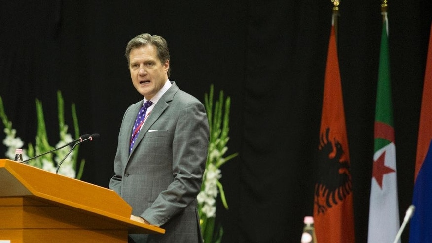 NATO's Parliamentary Assembly President, US Congressman Michael R. Turner speaks at the Spring session urging alliance members to show resolve to Russia's increased military assertiveness and better share the burden of collective defense at the July summit, in Tirana, Monday, May 30, 2016.  Some 250 parliamentarians from 28 NATO-member countries and partners have gathered in a three-day session in the Albanian capital, Tirana under tight security measures.(AP Photo/Hektor Pustina)