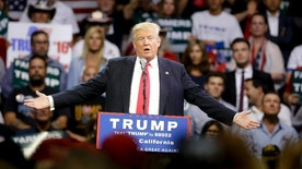 In this May 27, 2016, photo, Republican presidential candidate Donald Trump gestures while speaking at a rally in Fresno, Calif. China is a frequent target for Trump, who accuses the country of stealing American jobs and cheating at global trade. Trump is only now emerging as a public figure in China, where many people appreciate his focus on economic issues rather than human rights and political freedoms. (AP Photo/Chris Carlson)