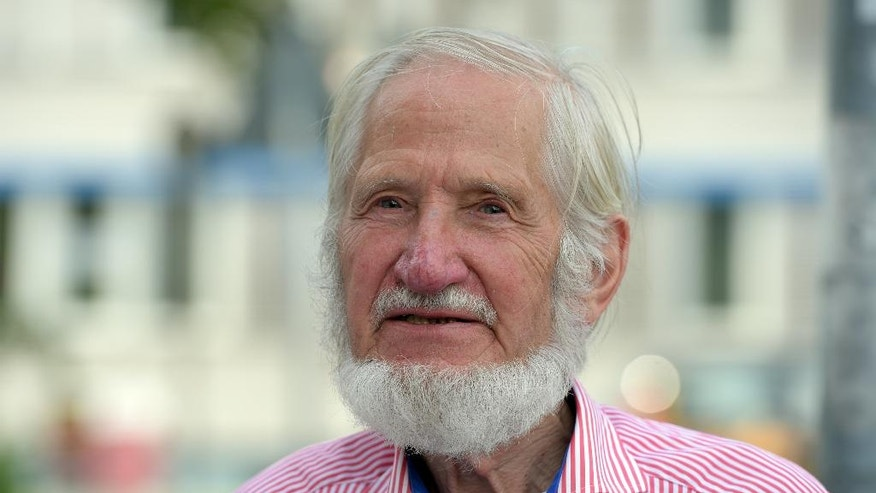"FILE -In this July 8, 2015 file picture the co- founder of relief organization  Cap Anamur, Rupert Neudeck,is photographed in Berlin. Rupert Neudeck, the co-founder of Germany-based humanitarian aid group Cap Anamur, which helped to rescue more than 10,000 Vietnamese ""boat people,"" has died Tuesday May 31, 2016, the organization said. He was 77.  ( Rainer Jensen/dpa via AP,File)"