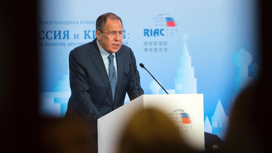 Russian Foreign Minister Sergey Lavrov speaks during the Russian International Affairs Council in Moscow, Russia, Tuesday, May 31, 2016. The Russian International Affairs Council hosts a Russia-China conference ahead of Russian President Vladimir Putin's official visit to China in June. (AP Photo/Pavel Golovkin)