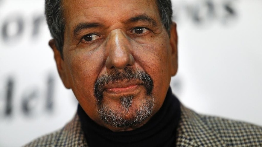 FILE  - This Thursday, Nov. 12, 2015 file photo shows Polisario Front's Secretary General Mohamed Abdelaziz listening to a question during a news conference in Madrid, Spain. The head of the independence movement in the Western Sahara, Mohamed Abdelaziz, has died after a long illness, the Polisario Front said in a statement. (AP Photo/Francisco Seco, File)