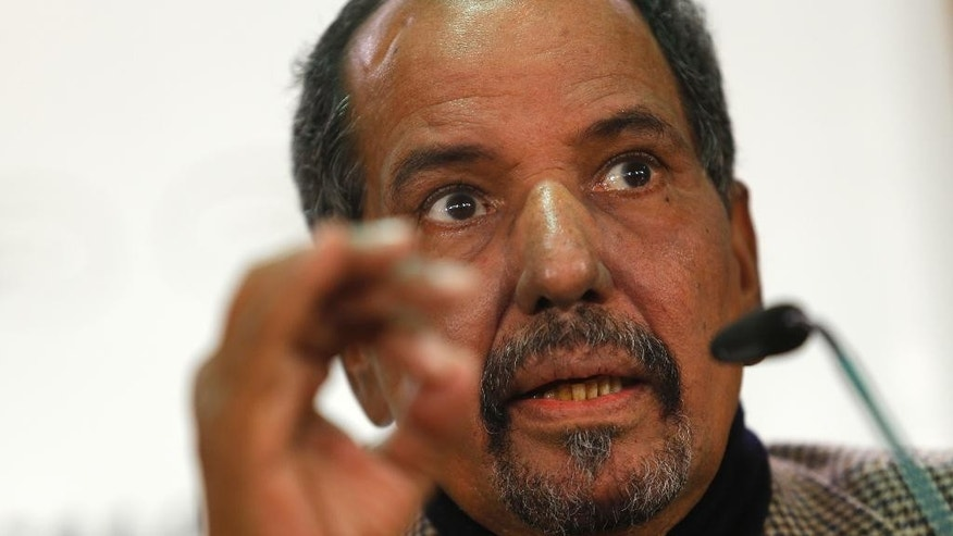 FILE - In this Thursday, Nov. 12, 2015 file photo, The pro-independence movement in Western Sahara, Polisario Front's Secretary General Mohamed Abdelaziz listens to a question during a news conference in Madrid. The head of the independence movement in the Western Sahara, Mohamed Abdelaziz, has died after a long illness, the Polisario Front said in a statement on Tuesday, May 31, 2016.The movement ordered a 40-day mourning period, after which a new secretary-general will be chosen, the statement said. (AP Photo/Francisco Seco, file)