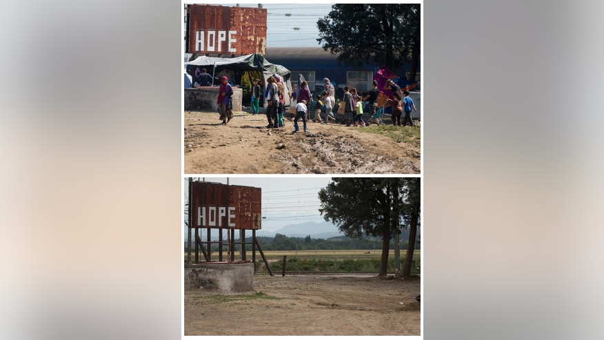 Two picture combo, top shows a group of migrants moving though the makeshift camp in Idomeni, Greece, Monday, May 23, 2016.  Bottom photo shows the same location on Sunday, May 29, 2016, after the camp was evacuated. Once home to more than 14,000 refugees and migrants, the makeshift camp at Greece's border village of Idomeni has now been evacuated and its former occupants transferred to other, supposedly better organized camps. (AP Photo/Darko Bandic)