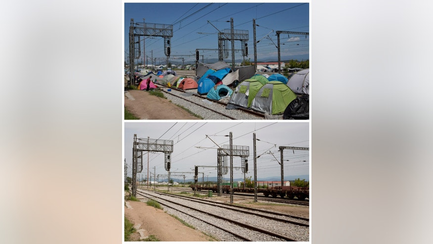 Idomeni Photo Gallery - Two picture combo, top shows tents erected on the railroad at the makeshift camp in Idomeni, Greece, Monday, May 23, 2016. Bottom photo shows the same location on Sunday, May 29, 2016, after the camp was evacuated. Once home to more than 14,000 refugees and migrants, the makeshift camp at Greece's border village of Idomeni has now been evacuated and its former occupants transferred to other, supposedly better organized camps. (AP Photo/Darko Bandic)