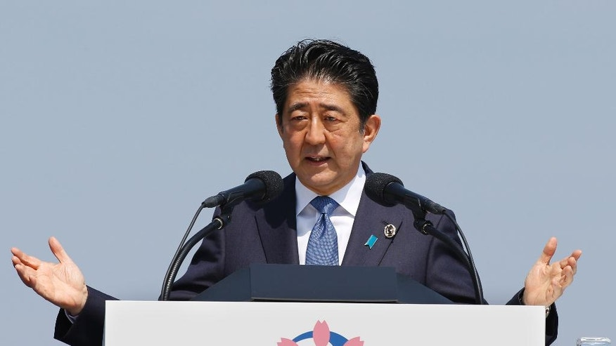FILE - In this May 27, 2016, file photo, Japanese Prime Minister Shinzo Abe speaks at a press conference at the G-7 summit in Shima, central Japan. For months, Abe said he would go ahead with a planned sales tax next year, even as rumors swirled that he was having second thoughts as a parliamentary election loomed. The rumors appear to be right. Japanese media reports say that Abe will announce Wednesday, June 1, 2016, his intention to delay the increase from 8 to 10 percent until 2019.  (AP Photo/Shizuo Kambayashi, File)