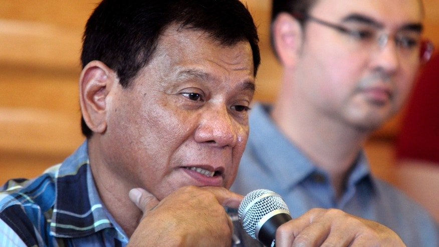 May 16, 2016: In this photo provided by the Office of the City Mayor, Davao City, presumptive president-elect Rodrigo Duterte answers questions from the media during a news conference in Davao city southern Philippines.