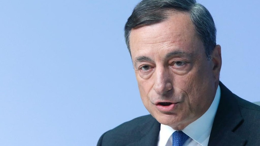 FILE - In this Sept. 3 2015 file picture , the president of European Central Bank Mario Draghi speaks during a news conference in Frankfurt, Germany.  The ECB  will meet in Vienna Thursday June 2, 2016.  (AP Photo/Michael Probst,file)