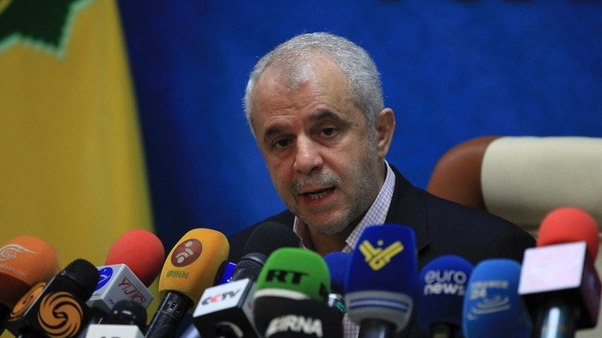 Head of Iran's Hajj and Pilgrimage Organization Saeed Ohadi speaks in a news conference in Tehran, Iran, Thursday, June 2, 2016. Iran officially announced on Thursday that it won't be sending pilgrims to the hajj this year, blaming Saudi Arabia for the move and claiming the kingdom has failed to provide adequate security for the pilgrims. (AP Photo/Vahid Salemi)