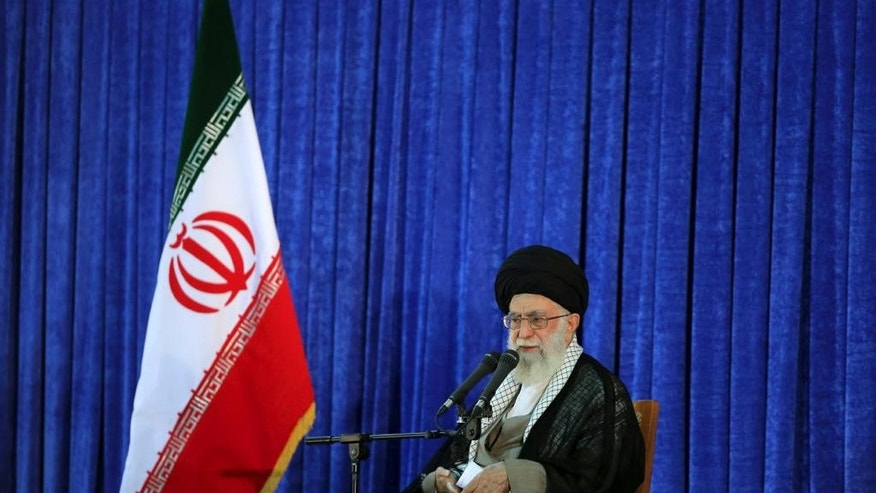 In this picture released by an official website of the office of the Iranian supreme leader, Supreme Leader Ayatollah Ali Khamenei delivers his speech in a ceremony marking 27th death anniversary of founder of the Islamic Republic, Ayatollah Khomeini at his shrine just outside Tehran, Iran, Friday, June 3, 2016. Iran's top leader has ruled out cooperation with America against the Islamic State group, their common enemy in Syria and Iraq. (Office of the Iranian Supreme Leader via AP)