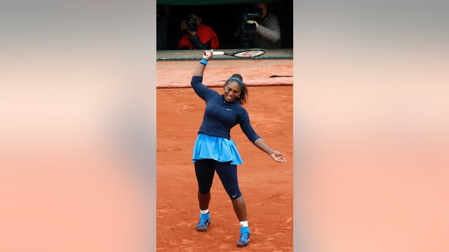 Serena Williams of the U.S. reacts as she plays Spain's Garbine Muguruza during their final match of the French Open tennis tournament at the Roland Garros stadium, Saturday, June 4, 2016 in Paris.  (AP Photo/Christophe Ena)