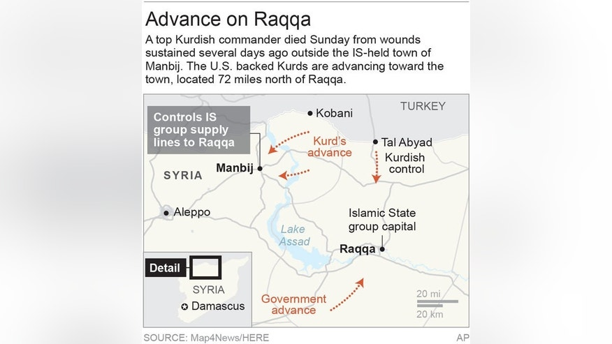Map shows Manbij, Syria, a key city in route to Raqqa, the IS group stronghold; 2c x 3 3/8 inches; 96.3 mm x 85 mm;