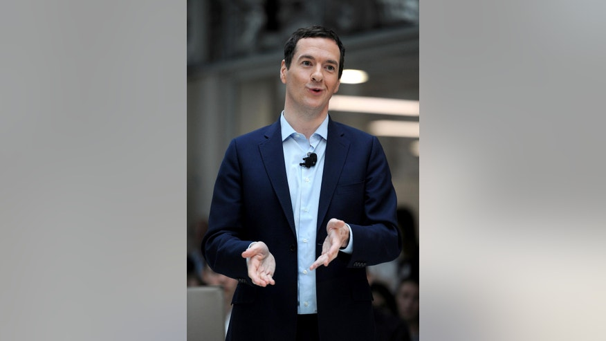 "Britain's Chancellor of the Exchequer, George Osborne, delivers a speech on the EU at a corporate centre in Bournemouth, southern England, Friday June 3, 2016. Speaking during the visit to the south coast, the Chancellor accused ""Brexit"" campaigners of being ""dishonest"" by pretending that the economy would not suffer if those wishing to leave triumphed in the EU referendum. (Andrew Matthews/PA via AP)  UNITED KINGDOM OUT"