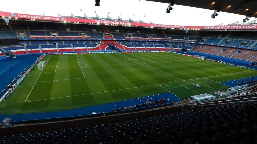 General view of the Parc des Princes stadium in Paris, France, Monday, Feb. 15, 2016. The stadium, which hosted the first European Cup final in 1956 and has had a long history as a rugby venue, will host five matches during the Euro 2016 soccer tournament, including one round of 16 fixture. It will have a capacity of 46,000 for the tournament.  (AP Photo/Francois Mori)