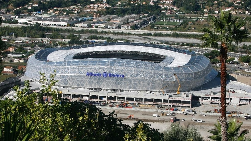 A view of the new stadium Allianz Riviera of Nice, Wednesday, Sept. 18, 2013. The stadium will have a capacity of 34,500 for the Euro 2016 soccer tournament, and will host four matches, including one round of 16 fixture. The venue was one of three new stadiums especially built for the tournament. It's also host to France's National Sports Museum, which was previously located in Paris. (AP Photo/Lionel Cironneau)