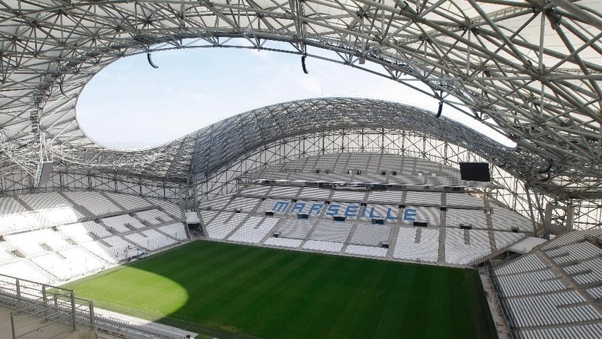 In this photo taken on  Friday, Oct. 17, 2014, a view of the renovated Velodrome stadium,  in Marseille, southern France. Marseille is one of the 10 playing venues of the Euro 2016 in France. (AP Photo/Claude Paris)