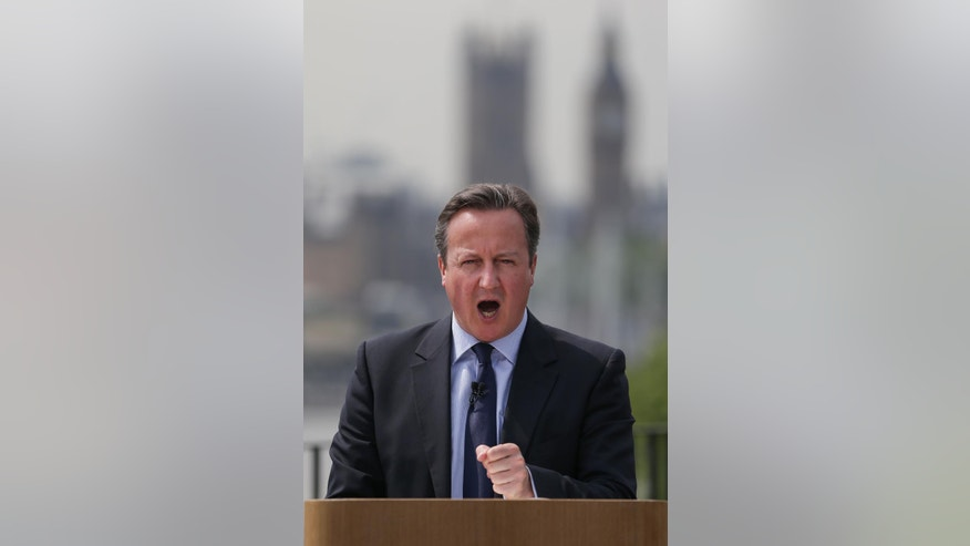 "Prime Minister David Cameron gives a speech on the EU referendum at Savoy Place in London, Tuesday, June 7, 2016. Britain's EU referendum debate has sparked bitter infighting in the governing Conservative Party, with Prime Minister David Cameron accusing ""leave"" campaigners of peddling ""fantasy politics."" (Daniel Leal-Olivas/PA via AP) UNITED KINGDOM OUT"