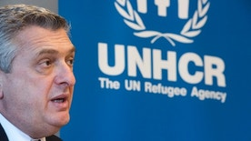 United Nations High Commissioner for Refugees Filippo Grandi speaks about the migration crisis during a press meeting at the UNHCR office in Stockholm, Sweden, April 06, 2016. REUTERS/Fredrik Sandberg/TT News Agency     ATTENTION EDITORS - THIS IMAGE WAS PROVIDED BY A THIRD PARTY. FOR EDITORIAL USE ONLY. NOT FOR SALE FOR MARKETING OR ADVERTISING CAMPAIGNS. THIS PICTURE IS DISTRIBUTED EXACTLY AS RECEIVED BY REUTERS, AS A SERVICE TO CLIENTS. SWEDEN OUT. NO COMMERCIAL OR EDITORIAL SALES IN SWEDEN. NO COMMERCIAL SALES. - RTSDUBD