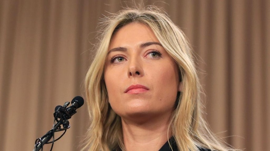 FILE - This is a Monday, March 7, 2016 file photo showing tennis star Maria Sharapova speakings about her failed drug test at the Australia Open during a news conference in Los Angeles. Sharapova has been suspended for two years by the International Tennis Federation for testing positive for meldonium at the Australian Open. The ruling, announced Wednesday, June 8, 2016 can be appealed to the Court of Arbitration for Sport. (AP Photo/Damian Dovarganes, File)