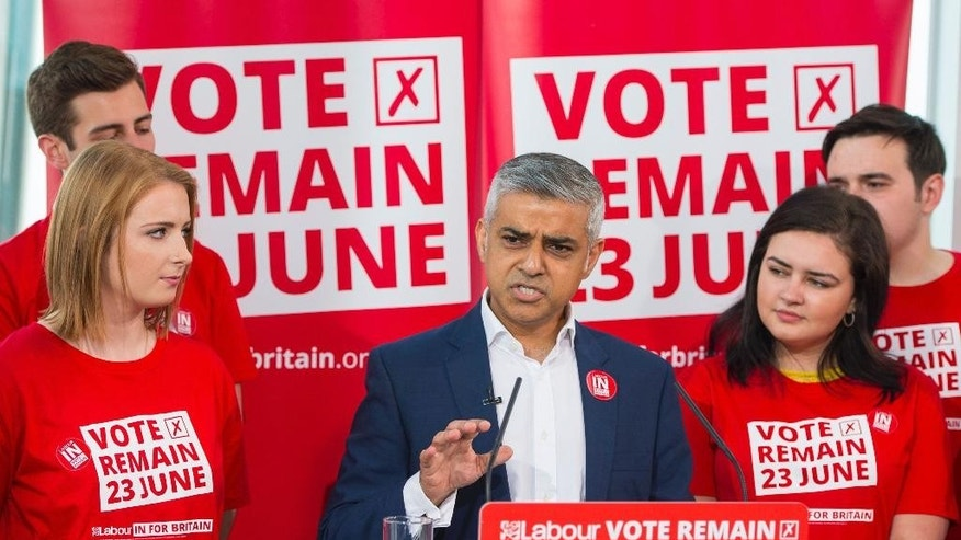 Mayor of London Sadiq Khan speaks during a Labour party 'Vote Remain' campaign event, at The Shard in London Thursday June 9, 2016. The referendum on Britain's membership of the EU will take place on Thursday June 23. (Dominic Lipinski PA via AP) UNITED KINGDOM OUT