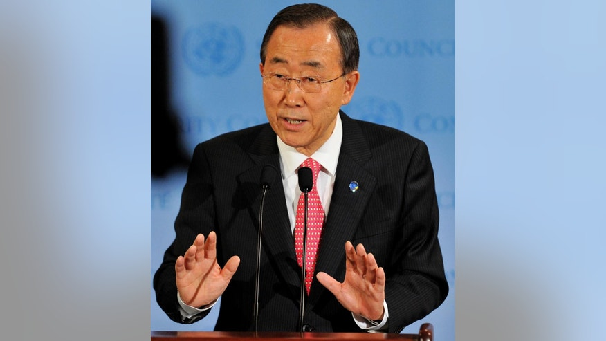 File-This March 24, 2011, file photo shows United Nations Secretary General Ban Ki-Moon speaking after a Security Council meeting at United Nations headquarters in New York. The Secretary-General said Thursday, June 9, 2016, he temporarily removed the Saudi-led coalition in Yemen from a U.N. blacklist for violating child rights because its supporters threatened to stop funding many U.N. programs. (AP Photo/Stephen Chernin, File)