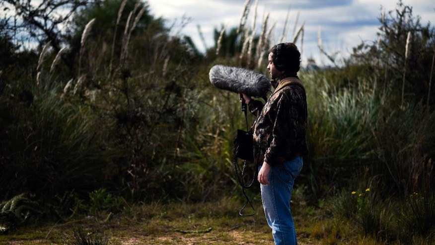In this June 1, 2016 photo, Juan Pablo Culasso stands with his recording equipment in a natural reserve on the outskirts of Montevideo, Uruguay, Wednesday. He said he discovered his calling as a teenager, when he joined an ornithologist on a 2003 field visit, inspired by his love of birds. The bird expert gave him a recorder, and he was hooked. Culasso's passion now is to record and learn from the sounds of nature. (AP Photo/Matilde Campodonico)