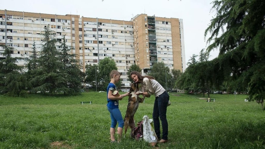WITH STORY SERBIA FEEDING STRAYS : In this photo taken Friday, June 10, 2016, Ana Kojic, 38, right, and Tara Metikus, 10, pet a stray dog in a suburb of Belgrade, Serbia.  There are too many hungry dogs and cats out there, so Kojic has made sure that whoever wants to help can do so. The animal rights activist from Belgrade Kojic has set up a network of volunteers who respond to calls from the public and collect food donations for the countless stray animals that roam the Serbian capital. (AP Photo/Marko Drobnjakovic)