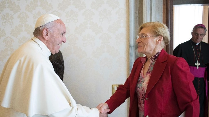 Pope Francis shakes hands with Lidia Guerrero,  the Argentine mother of a man on death row in Texas for two decades. After their first meeting, in Rome in 2014, she said that the pope, who is also Argentine, assured her of his prayers for Victor Hugo Saldano. (L'Osservatore Romano Pool Photo Via AP)