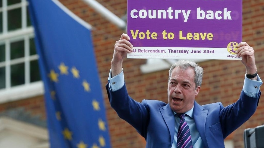 WITH STORY BRITAIN EU FUTURE - In this May 20, 2016 file photo, British politician and leader of the UKIP party Nigel Farage holds up a placard as he launches his party's campaign for Britain to leave the EU, outside the EU representative office in London. Working on how Britain might extricate itself from the EU and whether Europe would unravel in its absence is about as easy as predicting how Britons will vote on June 23, 2016. (AP Photo/Alastair Grant, File)
