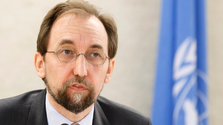 UN High Commissioner for Human Rights Zeid Ra'ad Al Hussein, of Jordan, addresses his statement during the opening of the 32nd session of the Human Rights Council, at the European headquarters of the United Nations in Geneva, Switzerland, Monday, June 13, 2016.  (Salvatore Di Nolfi/Keystone via AP)