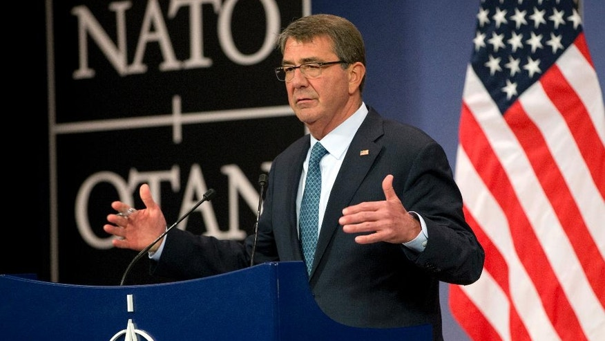 U.S. Secretary of Defense Ash Carter speaks during a media conference after a meeting of NATO defense ministers at NATO headquarters in Brussels on Wednesday, June 15, 2016. NATO concluded a two-day meeting on Wednesday with discussions on the situation in Afghanistan and Ukraine. (AP Photo/Virginia Mayo)