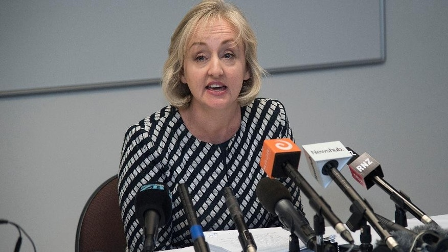 New Zealand Justice Minister Amy Adams speaks to the media in Wellington, Wednesday, June 15, 2016, about the apology to Teina Pora after he was wrongfully jailed for a crime he did not commit. New Zealand's government agreed to pay a record amount to Pora who spent more than 20 years in prison for a rape and murder he did not commit. (Marty Melville/New Zealand Herald via AP) NEW ZEALAND OUT, AUSTRALIA OUT