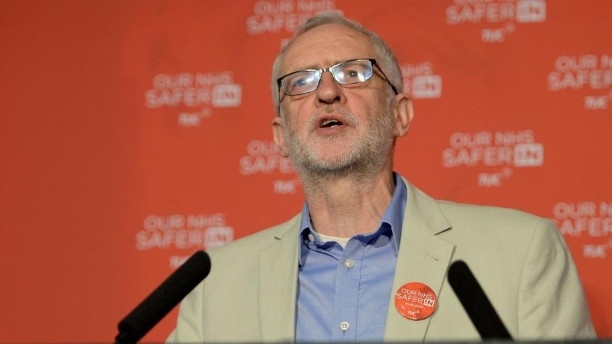 Labour party leader Jeremy Corbyn speaks during the TUC 'NHS safer in the EU' event at the TUC Congress Centre, London, where he pleaded for his party's supporters and trade unionists to vote Remain in the EU referendum in order to safeguard and extend the rights of ordinary workers.   Britain goes to the polls in a referendum on Thursday June 23 on whether Britain should remain or leave the EU. (Anthony Devlin/PA via AP)