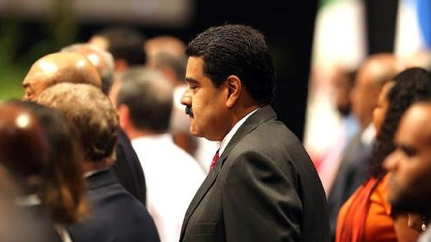 Venezuela's President Nicolas Maduro attends the 7th Summit of Heads of State by the Association of Caribbean States at Revolution Palace in Havana, Cuba, Saturday, June 4, 2016. (Alejandro Ernesto/Pool photo via AP)