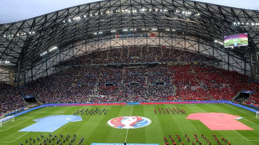 General view of at Stade Velodrome before both teams get ready to enter the pitch, during the Euro 2016 Group A soccer match between France and Albania at the Velodrome stadium in Marseille, France, Wednesday, June 15, 2016. (AP Photo/Claude Paris)