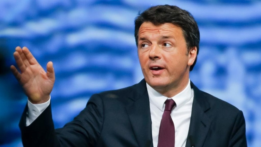 Italian Premier Matteo Renzi speaks at the St. Petersburg International Economic Forum in St. Petersburg, Russia, Friday, June 17, 2016. (AP Photo/Dmitry Lovetsky)