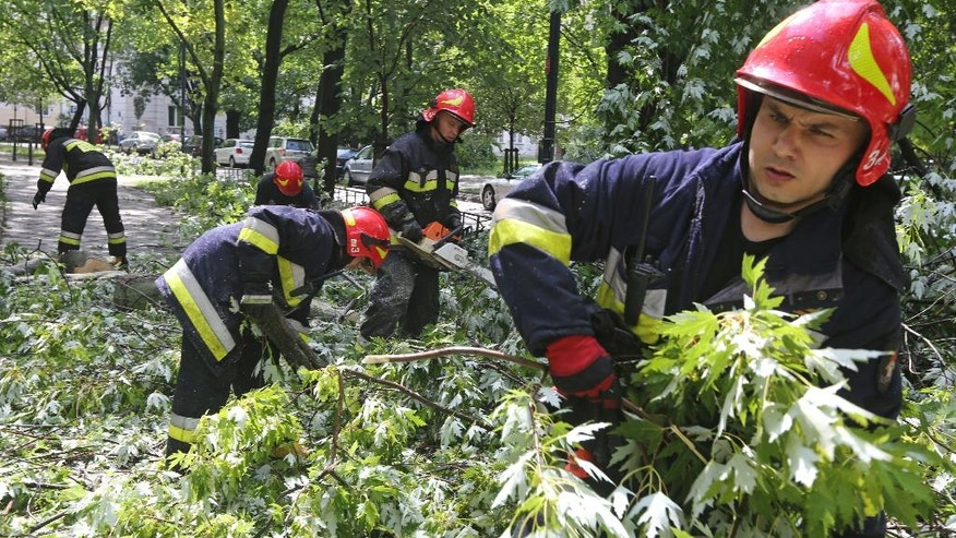 Fire brigade officers remove broken trees from a street in Warsaw, Poland, Friday, June 17, 2016, after a rainstorm hit the city. (AP Photo/Czarek Sokolowski)