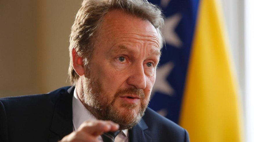 """Member of Bosnian tripartite Presidency Bakir Izetbegovic, answers questions during an interview with the Associated Press in Sarajevo, Bosnia, Tuesday, June 21, 2016. Izetbegovic told AP in an interview on Tuesday the European Union will remain an inspiration to countries like Bosnia which is undergoing painful reforms to join the block and this way ensure the nation's prosperity. Brits will make a mistake if they leave the """"best governed territory in the world"""", so desirable that people fleeing conflicts first want to go there, he said. (AP Photo/Amel Emric)"""