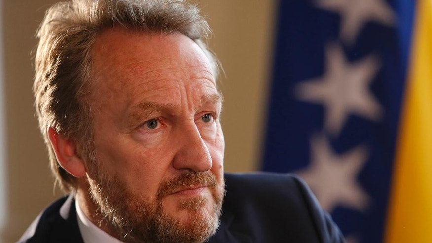 "Member of Bosnian tripartite Presidency Bakir Izetbegovic, answers questions during an interview with the Associated Press in Sarajevo, Bosnia, Tuesday, June 21, 2016. Izetbegovic told AP in an interview on Tuesday the European Union will remain an inspiration to countries like Bosnia which is undergoing painful reforms to join the block and this way ensure the nation's prosperity. Brits will make a mistake if they leave the ""best governed territory in the world"", so desirable that people fleeing conflicts first want to go there, he said. (AP Photo/Amel Emric)"