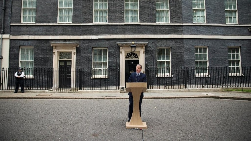 British Prime Minister David Cameron makes a statement appealing for people to vote to remain in the European Union outside 10 Downing Street in London, Tuesday, June 21, 2016. Britain votes whether to stay in the EU in a referendum on Thursday. (AP Photo/Matt Dunham)