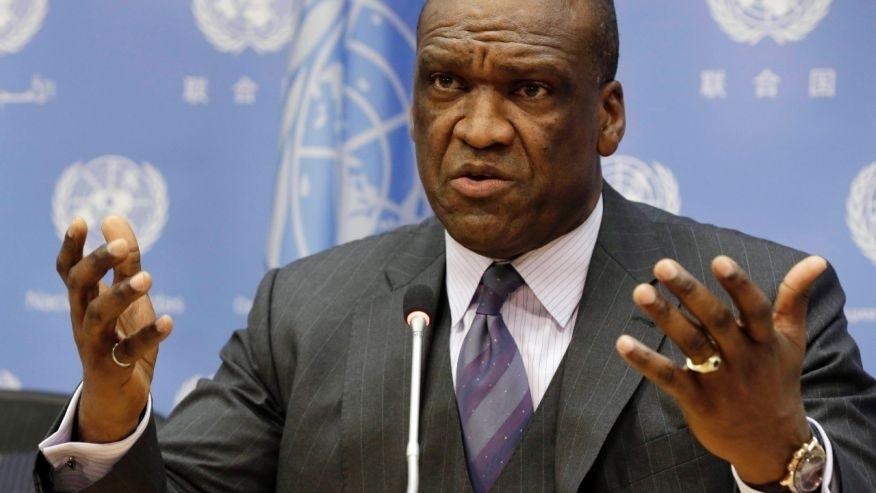 FILE - Sept. 17, 2013: Ambassador John Ashe, of Antigua and Barbuda, the president of the General Assembly's 68th session, speaks during a news conference at United Nations headquarters. (AP)