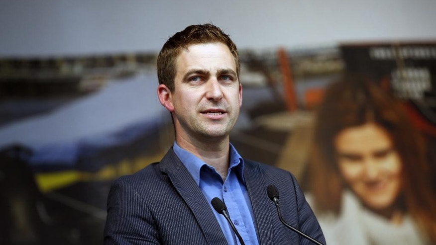 "Brendan Cox, widower of murdered British MP Jo Cox makes a speech during a gathering to celebrate her life, in Trafalgar Square, London, Wednesday, June 22, 2016. Jo Cox, a 41-year-old Labour lawmaker who had championed the cause of Syrian refugees, was stabbed and shot to death outside a library in her northern England constituency on Thursday. The suspect gave his name in court as ""death to traitors, freedom for Britain."" (AP Photo/Alastair Grant)"