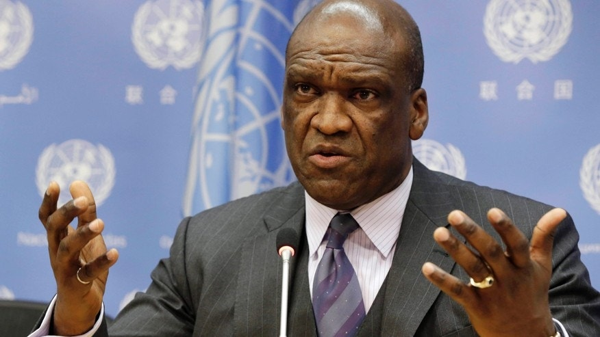 Sept. 17, 2013: Ambassador John Ashe, of Antigua and Barbuda, the former president of the General Assembly's 68th session, speaks during a news conference at United Nations headquarters.