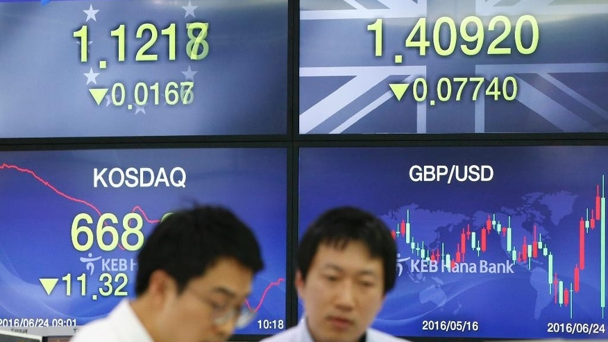 Currency traders talk near screens showing foreign exchange rates between British pound/the U.S. dollar and euro/the U.S. dollar at a foreign exchange dealing room in Seoul, South Korea, Friday, June 24, 2016. Asian stock markets were volatile on Friday with Tokyo stocks and U.S. futures plunging as early vote results on whether Britain should stay in the European Union showed a tight race. (AP Photo/Lee Jin-man)