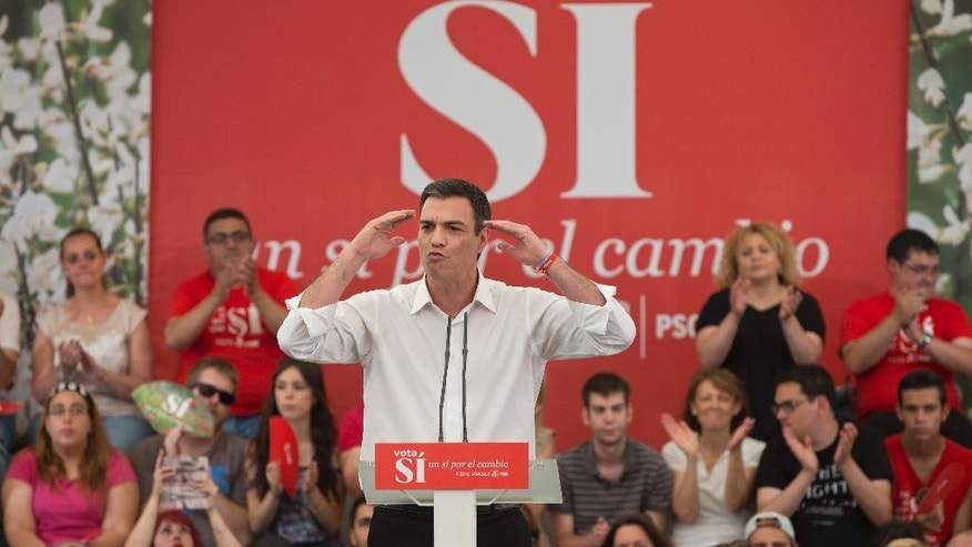 Spanish Socialist leader Pedro Sanchez makes a speech during a election rally on the last day of campaigning, in Madrid, Spain, Friday June 24, 2016. Spaniards are voting in a general election Sunday, just six months after a last unsuccessful attempt to pick a new government. (AP Photo/Paul White)