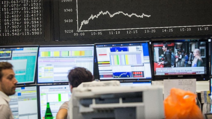 The curve of the German stock index DAX is displayed at the stock exchange in Frankfurt, Germany, Friday, June 24, 2016. The British vote to leave the European Union shook up financial markets around the globe, leading to sharp falls in stocks and the British pound. (Frank Rumpenhorst/dpa via AP)