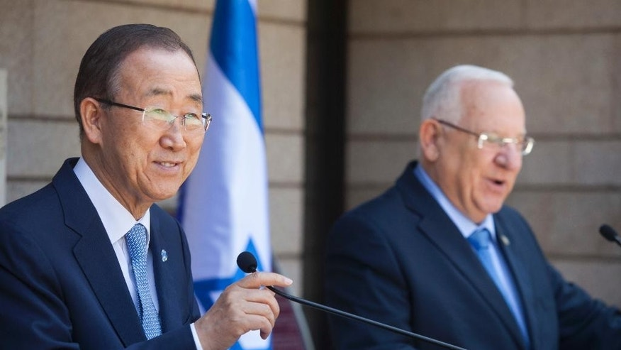 Israeli President Reuven Rivlin, left, and UN Secretary General Ban Ki-moon make statements to the press before their meeting at the presidential compound in Jerusalem, Monday, June 27, 2016. (AP Photo/Dan Balilty)