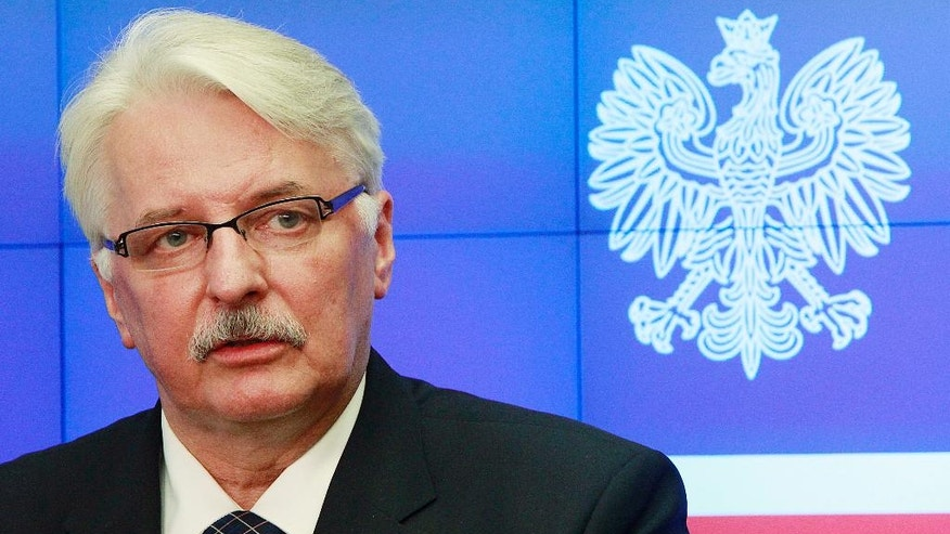 Polish Foreign Minister Witold Waszczykowski speaks at a press conference following talks with several EU country's foreign ministers and officials, in Warsaw, Poland, Monday, June 27, 2016. (AP Photo/Czarek Sokolowski)
